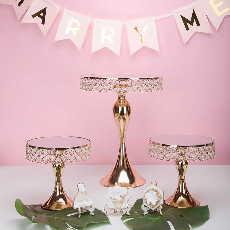 Neu kommen Gold Kristall kuchen ständer set Galvanik gold spiegel gesicht fondant cupcake süße tabelle candy bar tisch dekorieren