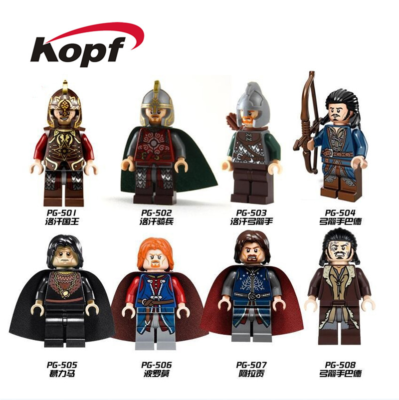 20Pcs Building Blocks Movie Of The Rings Series Archer Bard Assemble King Rohan Figures For Children Dolls Toys PG8031
