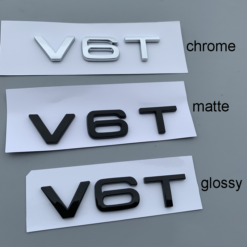 Gloss Black V6T 2 Pack Lettering Numbers Letters Rear Boot Lid Trunk Badge Emblem Compatible For V6T Engine SQ5 S5