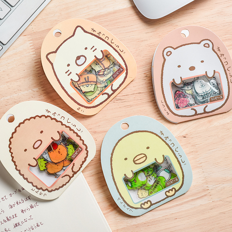 50pcs Cute Japan Style Corner Biological Adhesive Paper Creative Transparent Pet Sticker Package Journal Kawaii Adhesive Paper