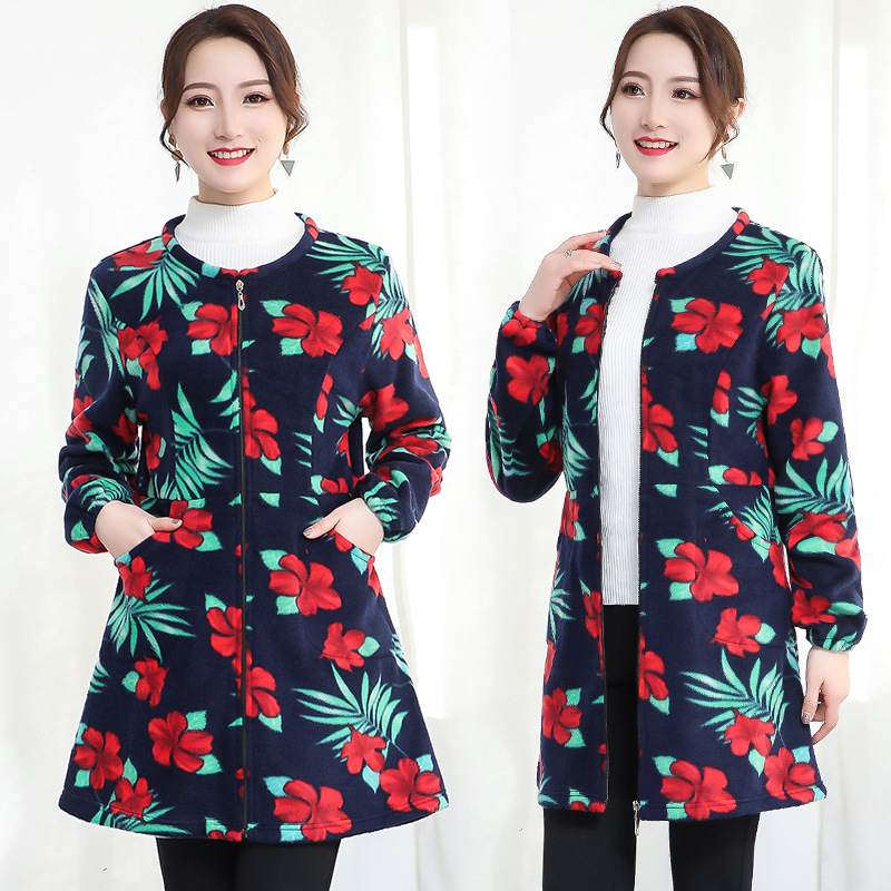 Adult Kitchen Women's Autumn And Winter Plus Velvet Plus Household Long Sleeve Overclothes Thick Coat Anti-Dirty Korean-style Fa