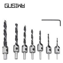 GUSIWU 7pcs HSS Countersunk Drill Bit 5 Flute 3mm 4mm 5mm 6mm 8mm 10mm Woodworking Drilling Bit Set with L-wrench Chamfer Tool