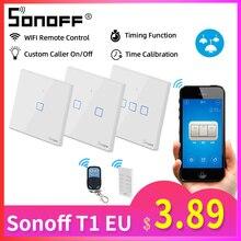 Sonoff T1 האיחוד האירופי 1/2/3C חכם Wifi מגע מתג אור 220V RF/433Mhz/אפליקציה/קול שלט רחוק קיר Wifi מתג חכם בית אוטומציה