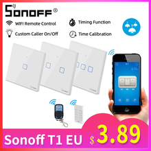 Sonoff T1 EU 1/2/3C Smart Wifi Touch Switch Light 220V RF/433Mhz/APP/Voice Remote Control Wall Wifi Switch Smart Home Automation