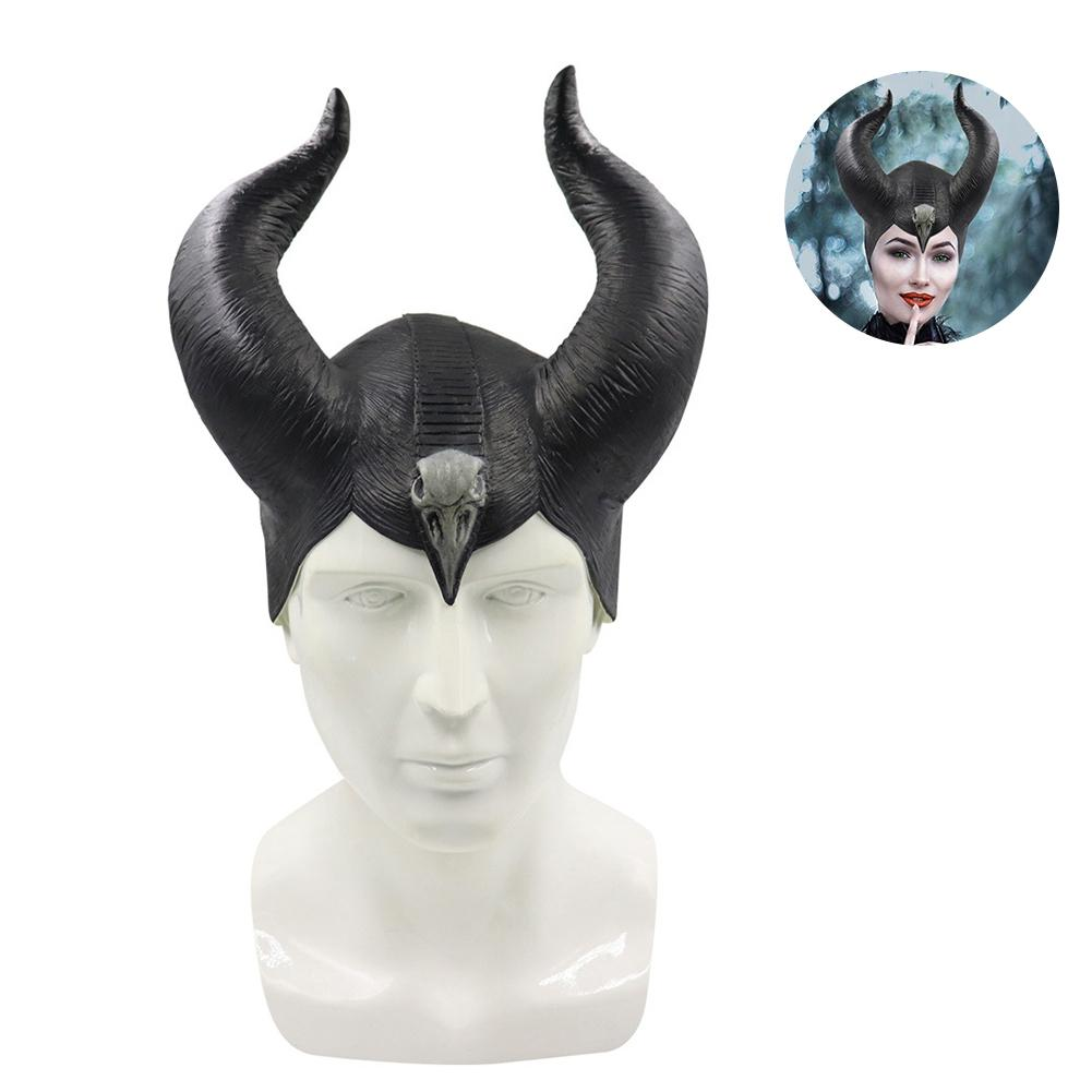 Halloween Latex Maleficent Hat Horns Evil Black Queen Headpiece Cosplay Headwear