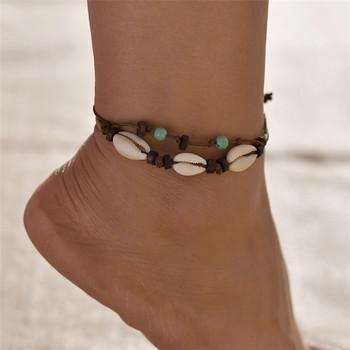 TTLIFE 2 sztuk drewniane powłoki tkane łańcuszek na kostkę artystyczna skorupa łańcuszek na kostkę łańcuszek na kostkę biżuteria prezent tanie i dobre opinie Brak Shell Kobiety TRENDY ROUND FZHH0758