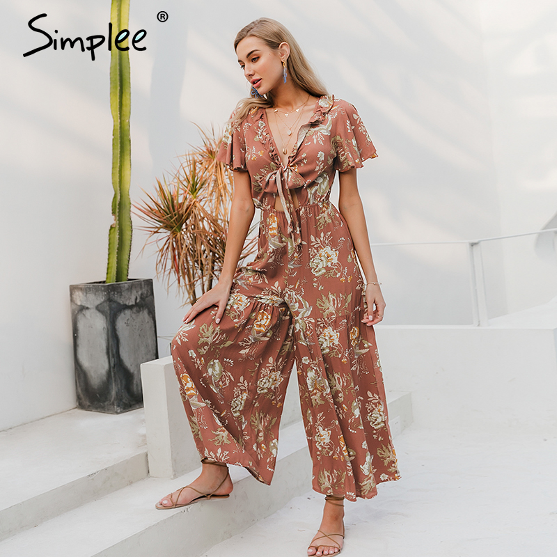 Simplee Deep V Neck Floral Print Women Jumpsuits Ruffle Bow Tie High Waist Female Jumpsuit Romper Holiday Summer Ladies Overalls