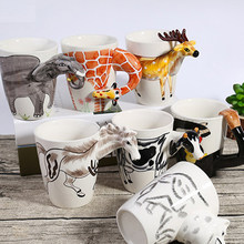 Creative Couple Water Cup 3D Three-dimensional Hand-painted Cup Cartoon Animal Ceramic Mug(China)