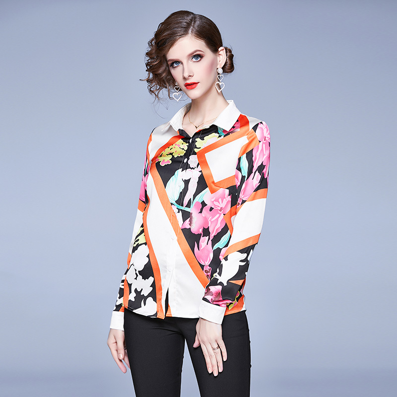 Elegant Floral Female Shirt Long Sleeve Temperament Slim Blouse Women Casual Turn-down Collar Ladies Tops Girl Tunic Spring New