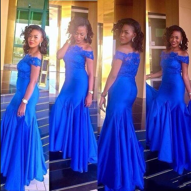 Royal Blue Bridesmaid Dresses For Wedding 2021Off Shoulder Vestido De Renda Lace Appliques Mermaid Prom Dress