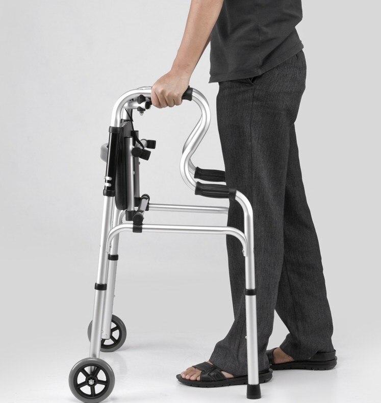 Anziani Pieghevole Walker Regolabile a Piedi Assist Dotato di Ruote Dotato di Braccio Resto Pad per Mobilità Limitata con Disabili - 2