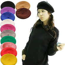 Beanie Hat Berets Boinas-Mujer French Knitted Artist Winter Warm Girl Women Solid Ski-Cap