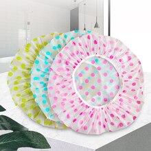 Touca de chuveiro à prova dwaterproof água de alta qualidade elástica 1pc feminino touca de chuveiro dot engrossado elástico touca de banho feminino salão de cabelo su