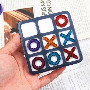 Tic Tac Toe OX Chess Game Mirror Silicone Casting Mold For DIY Resin Uv Epoxy Jewelry Tools Craft Handmade Making Small Size 1
