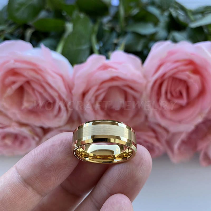 6mm 8mm Mens Womens Gold Tungsten Carbide Wedding Band Rings Beveled Edges Polished Matted Finish Comfort Fit Personal Customize 2