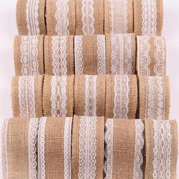 Tela del merletto del nastro rotolo iuta spago ired di tela nastro per le decorazioni di nozze fai da te fatti a mano artigianato