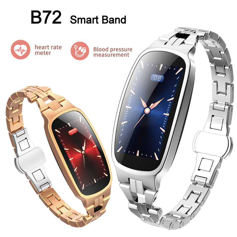 B72 Female Sports Smart Watch Stainless Steel Band Heart Rate Blood Pressure Monitor Fitness Tracker Bluetooth Smart Bracelet