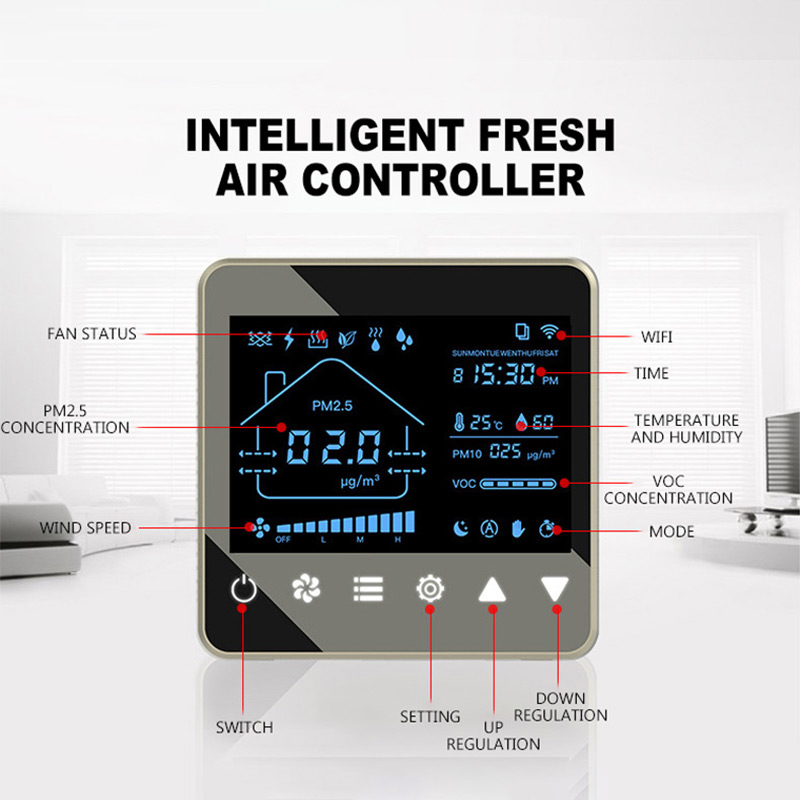 air Purifier central heating controller air filter ventilator fresh air system Temperature humidity sensor coil Heat exchanger