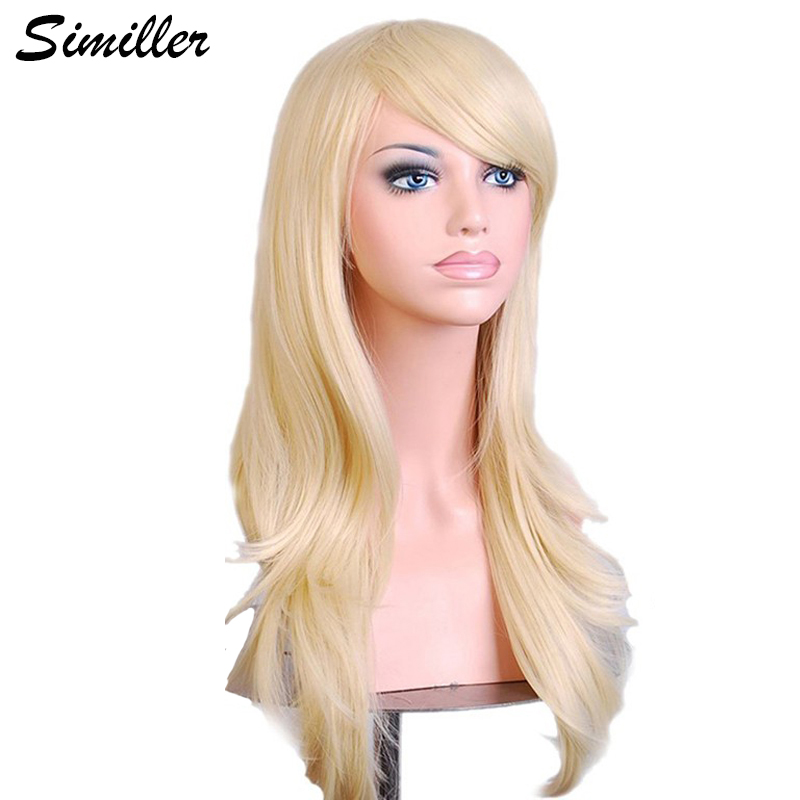 Similler 70 Cm Long Wavy Cosplay Wig Red Green Purple Pink Black Blue Sliver Gray Blonde Brown Synthetic Hair Wigs