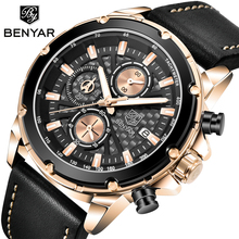 BENYAR Luxury Brand Fashion Chronograph Military Watch Men Waterproof Leather Sport Quartz Wrist Watches Clock Reloj Hombre 2020 ochstin leather sport men s watch luxury military male hour date clock waterproof skeleton quartz wrist watch men reloj hombre