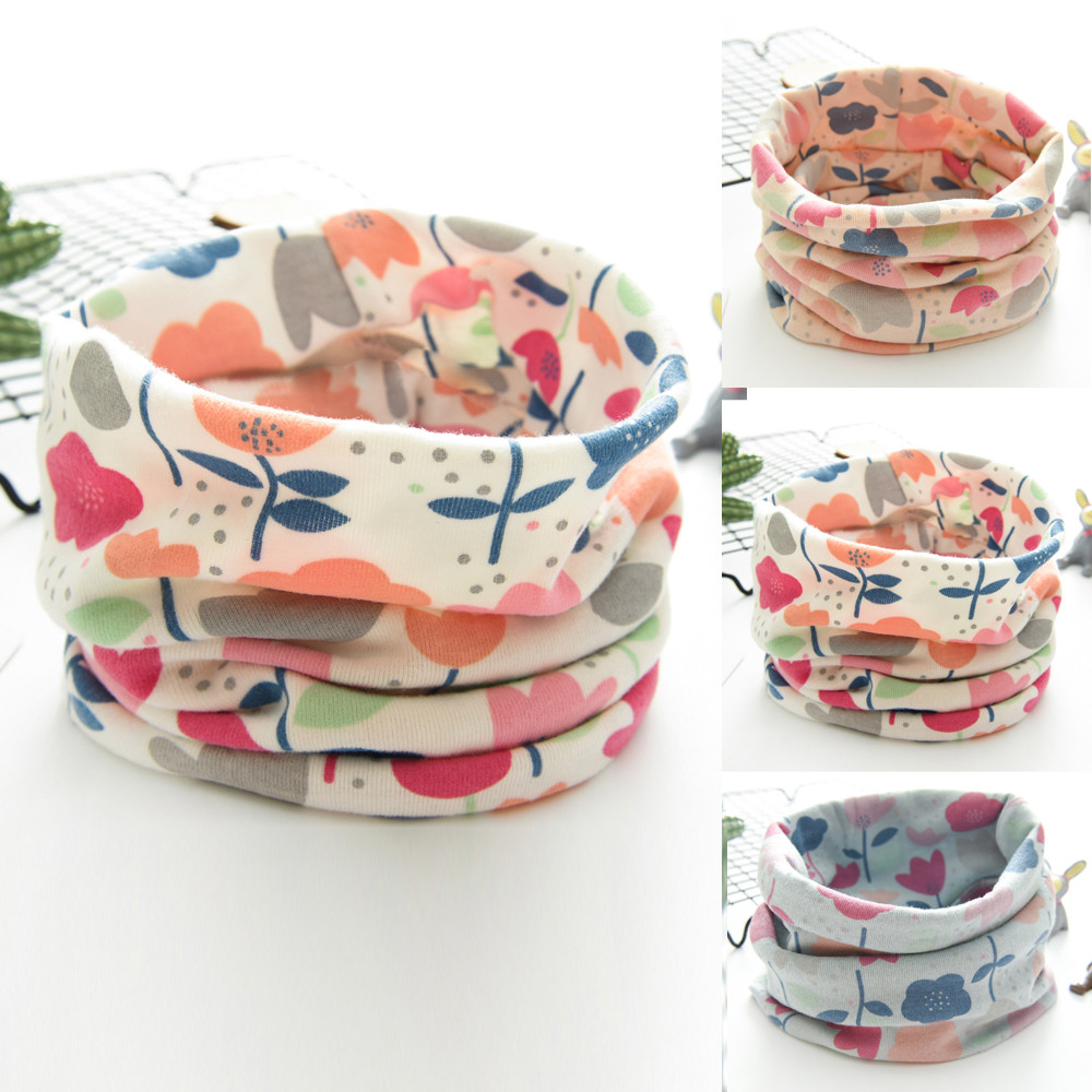 New Autumn Winter Boys Girls Baby  Cotton Soft Flower Scarf Cotton O Ring Neck Scarves