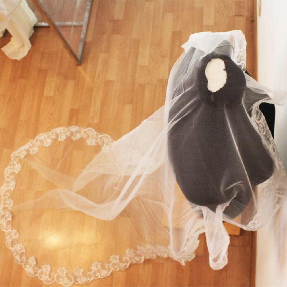 Voile Mariage 3M Eine Schicht Spitze Rand Weiß Elfenbein Kathedrale Hochzeit Schleier Lange Braut Schleier Günstige Hochzeit Zubehör Veu de Noiva