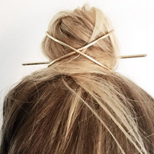 Fashion Hair Stick Boho Geometric Hair Accessories Gold Filled X Shaped Bun Holder Cage Hair Pins for Women Hairwear Jewelry