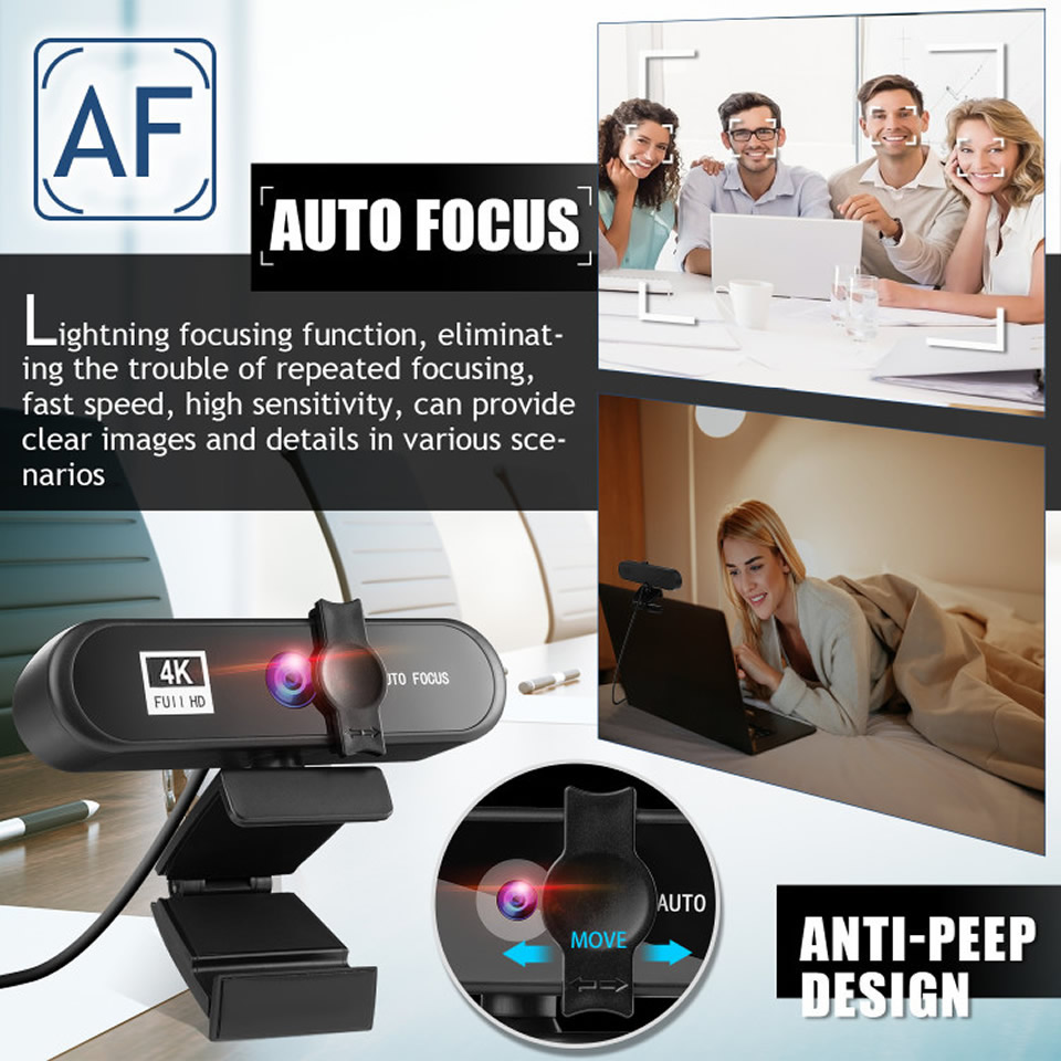 2K 4K Webcam Conference PC Webcam Autofocus USB Web Camera Laptop Desktop for Office Meeting Home With MIC 1080P Full HD Web Cam 2