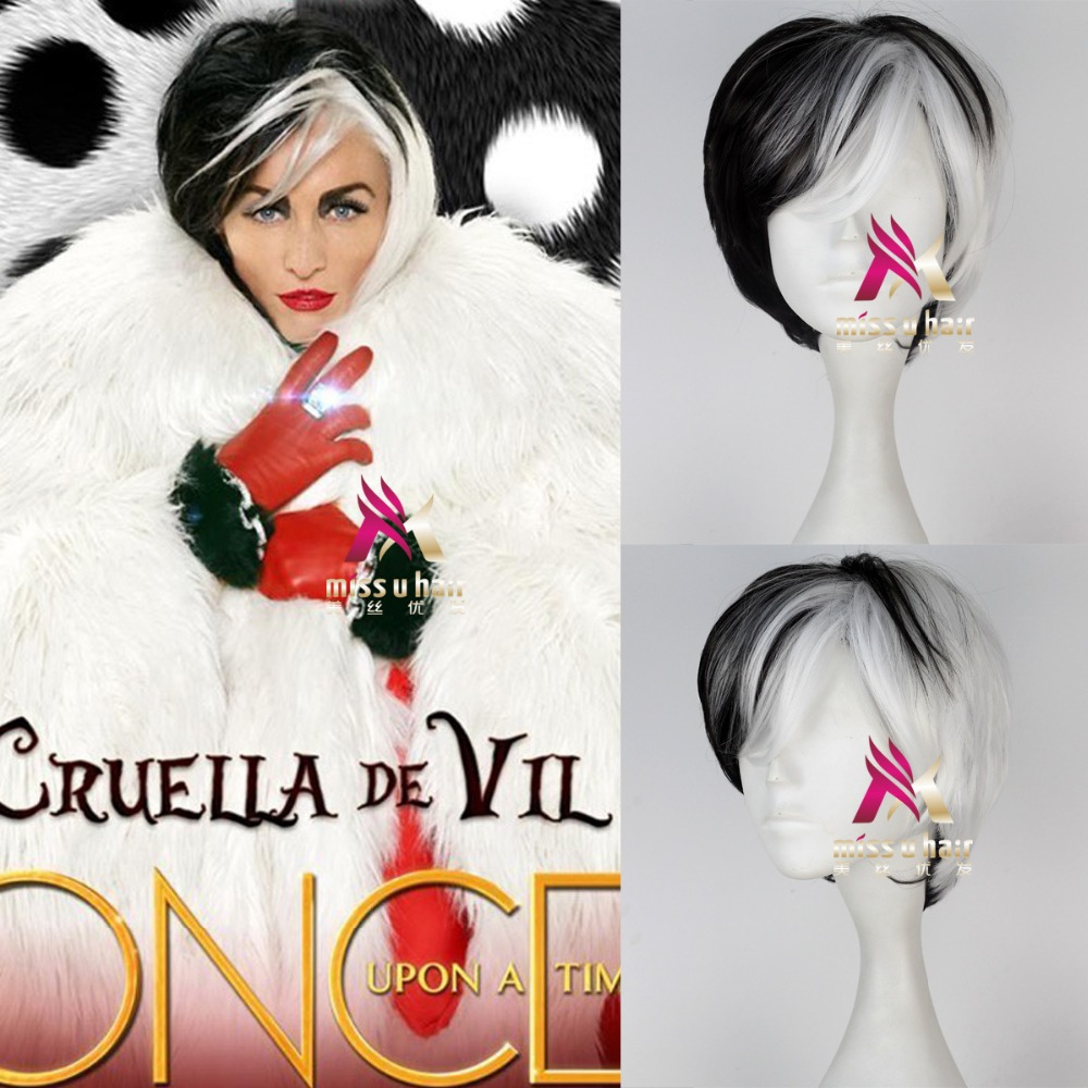 Deville Cruella De Vil Cosplay Wig One Hundred And One Dalmatians DeVil Wigs Half White Half Black Layered Cosplay Wig +wig Cap