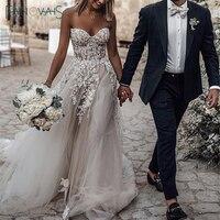 Boho Wedding Dress 2019 Sweetheart A Line Crystal Beaded Lace Wedding Gown Long Train Beach Bridal Gown Vestido de Novia WN79