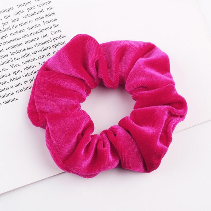 33 цвета, корейские Бархатные резинки для волос, эластичные резинки для волос, одноцветные женские головные уборы для девушек, заколки для волос с конским хвостом, аксессуары для волос - Цвет: W14 Rose Red