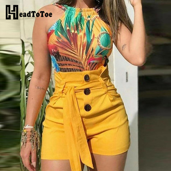 High waisted shorts womens button and belted short
