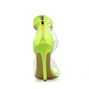 Image 5 - Kcenid 2020 New PVC shoe woman fashion women summer sandals sexy high heels woman open sandals zipper comfortable sandals green