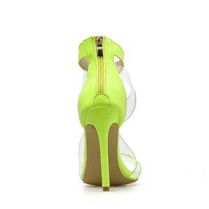 Image 5 - Kcenid 2020 جديد PVC حذاء امرأة أزياء المرأة الصيف الصنادل مثير عالية الكعب امرأة مفتوحة الصنادل سستة الصنادل المريحة الأخضر