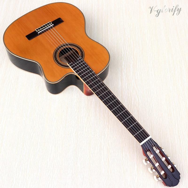 Guitare classique de flamenco de cèdre rouge, guitare de Flamenco bien faite, guitare classique de cèdre rouge en bois massif, dos et côté en palissandre