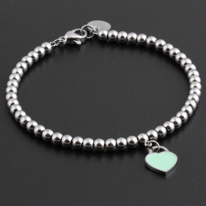 heart bracelet for women stainless steel bracelet woman fashion charm blue pink heart bracelet beads girls for woman Accessories