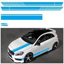 Universal 5 cores corpo do carro de corrida porta lateral longa etiqueta do carro adesivos retrovisor espelho lateral decalque listra carro accessries