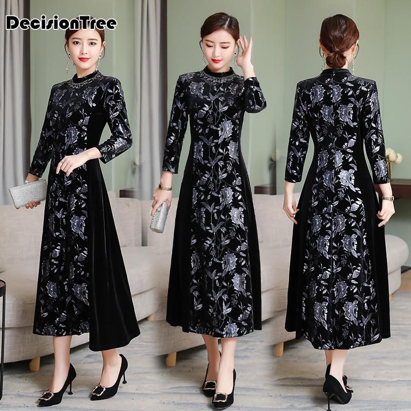 2019 Cheongsam Modern Ao Dai Vietnam Vietnamese Ao Dai Qipao Vintage Novelty Floral Print Chinese Dress Vintage Casual Retro