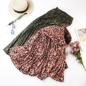 Image 3 - Midi ארוך הדפס מנומר קפלים חצאיות נשים 2019 סתיו החורף קוריאני אלגנטי גבוהה מותן אונליין אופנה חצאית נשי