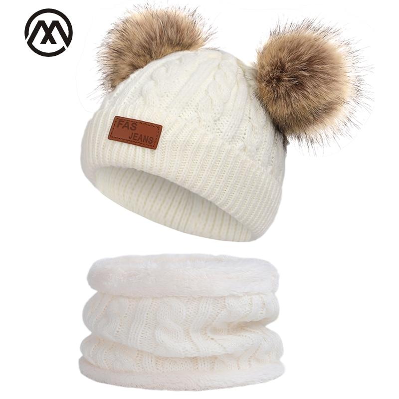 Children's Winter Warm Hat Collar Set Pompom Peas Bonnet Hat Boy / Girl Knit Hat Scarf Ski Warm 2 Piece Set Head Cap Twist Hat