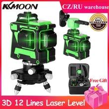 As linhas horizontais verticais do nível do laser de kkmoon 3d 12 com função do auto-nivelamento nivel um laser do niveau do rotativo do lazer nivel