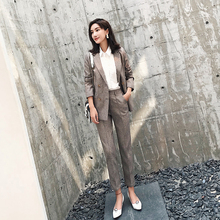 fashion 2 piece set women business pants suit slim blazer jacket pencil pants women's set female suit OL work wear D607