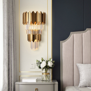 Image 3 - Youlaike Gold Modern Wall Sconces Lighting AC110 240V Two Level Crystal Wall Lamp Bedside Living Room Crystals Light Fixture