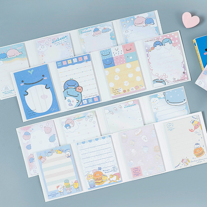 80pcs /lot Kawaii Cartoon Memo Pad 4 Folding N Times Sticky Paper Notes Memo Notepad Bookmark Writing Pads Gift Stationery