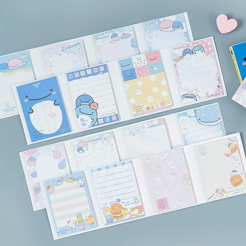 80pcs /lot Kawaii Cartoon Memo Pad 4 Folding N Times Sticky Paper Notes Memo Notepad Bookmark Writing Pads Gift Stationery