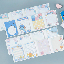лучшая цена 80pcs /lot Kawaii Cartoon Memo Pad 4 Folding N Times Sticky Paper Notes Memo Notepad Bookmark Writing Pads Gift Stationery