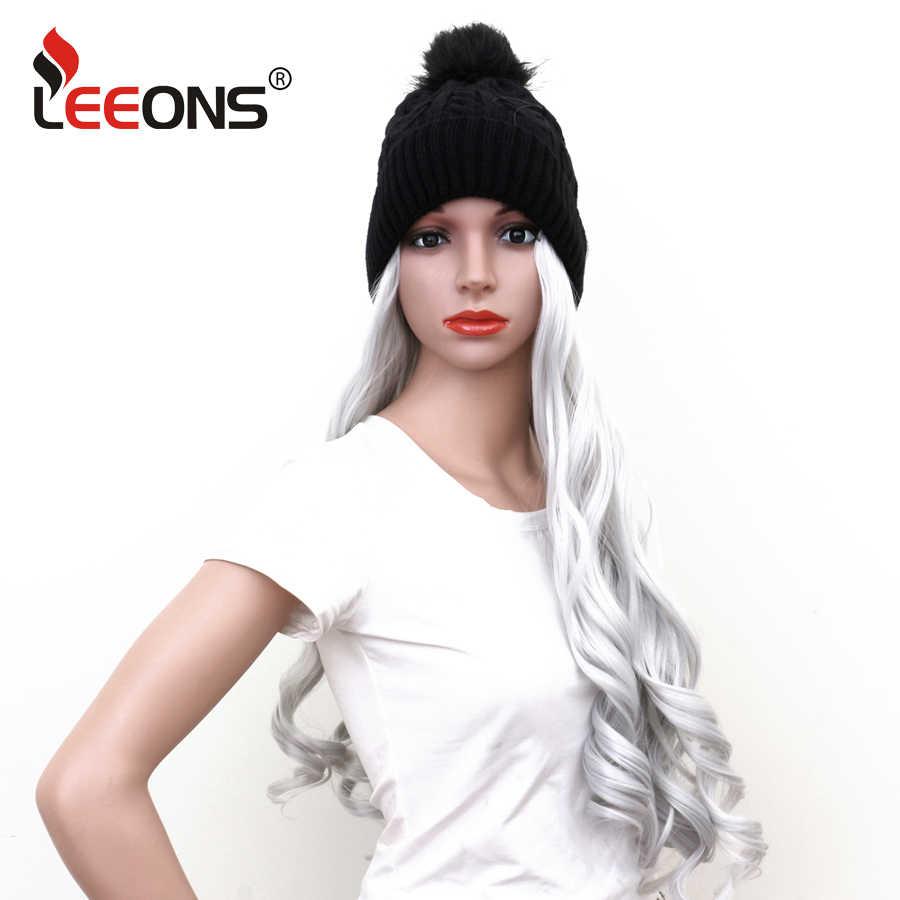 Leeons موجة الشعر التمديد قبعة الباروكات طويلة الاصطناعية خصلات الشعر المستعار مع قبعة منسوجة سوداء دافئة وناعمة الفضة/أسود/شعر أسود طبيعي