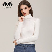 .A.M.A. S/XL Slim Stretch Sweater for Women White/Black/Gray/khaki/Green/Blue Long Sleeve Autumn Thermal Women's Turtleneck(China)