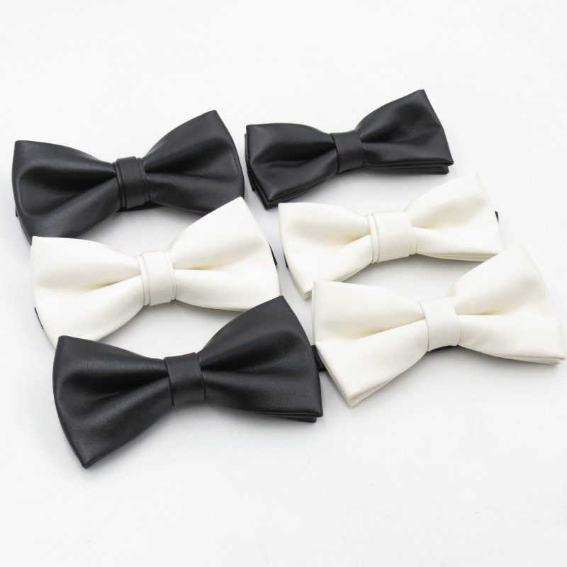 Men's New Unique Leather Material Single Color Bow Tie Black Fashion Bowties Milky White Narrow