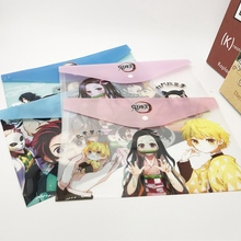 1Pcs Anime Demon Slayer Kimetsu No Yaiba Kamado Tanjirou Nezuko Folder File Bag Document Organizer Storage Bag Stationery Gift